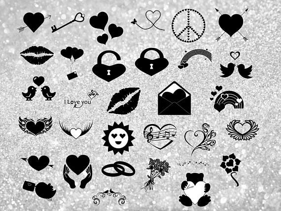 32 Love tags silhouettes Clipart. Valentine's day clipart.