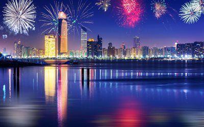 Scarica sfondi bay, dubai, emirati arabi uniti, città di notte, fuochi d'artificio