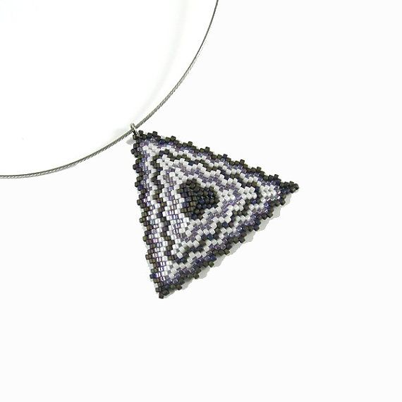 Peyote Triangle Pendant  dark gray white delicate by Taurielscraft, $20.00