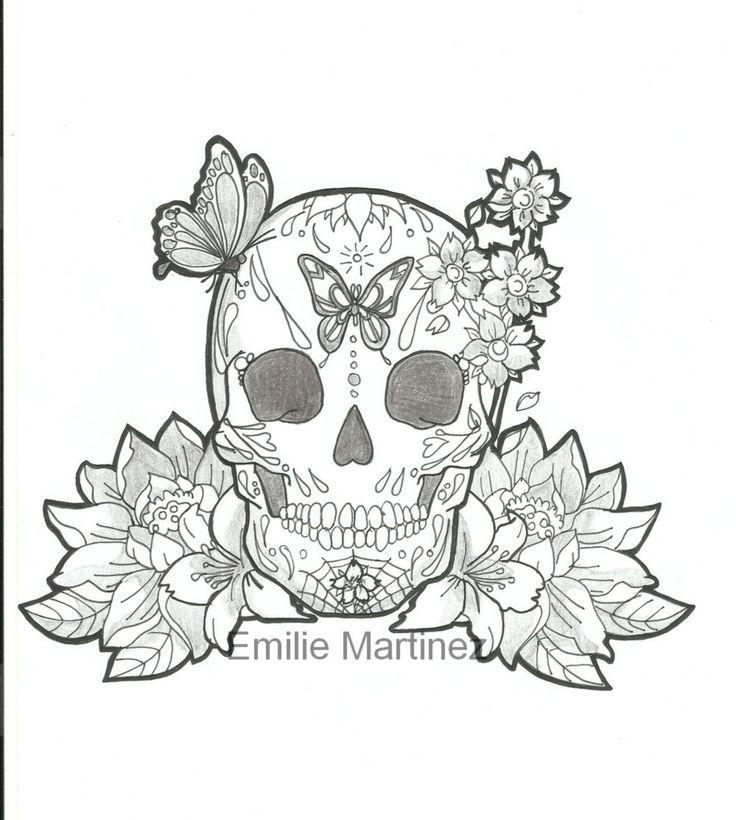 Mexican Skull Butterfly Flowers Draw Https Www Facebook