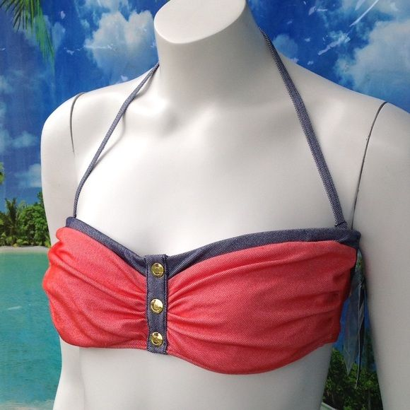 NEW TOMMY HILFIGER coral navy bandeau halter top M By TOMMY HILFIGER, this BANDEAU bra halter top has removable neck strap, ties at back for flexible fit, and underwire support. Orange. Size medium. Also available in navy under separate listing. TH23210 Retail $68. New with tags. Please visit my closet for new designer swimwear, sandals, boots, and shoes! Tommy Hilfiger Intimates & Sleepwear Bandeaus