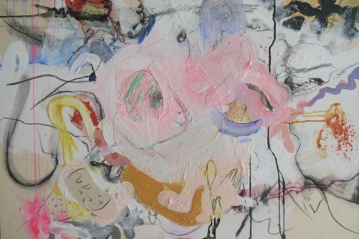 "JACIE WIGGS Drawings in Mixed Media on Wood Cradle  24"" x 36"" x 1- 3/4"""
