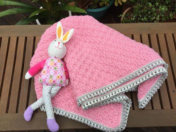 Pink baby blanket  crochet baby blanket corners to corner