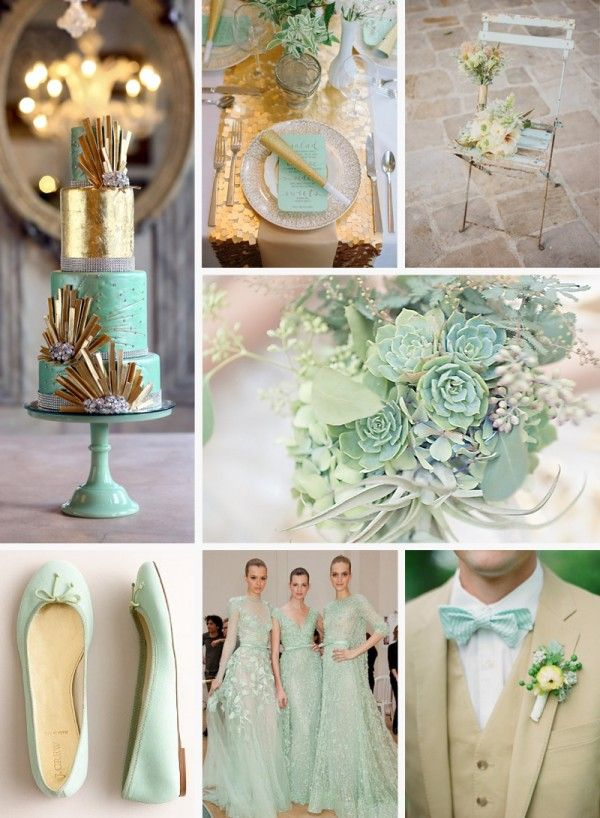 salmon and mint wedding colors | gold and mint cake gold and mint centerpieces rustic mint