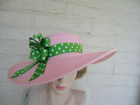 Garden Party, Kentucky Derby Hat, Pretty Woman in Pink and Green Hat from Madame Hatsy Etsy shop. Very @Lilly Pulitzer