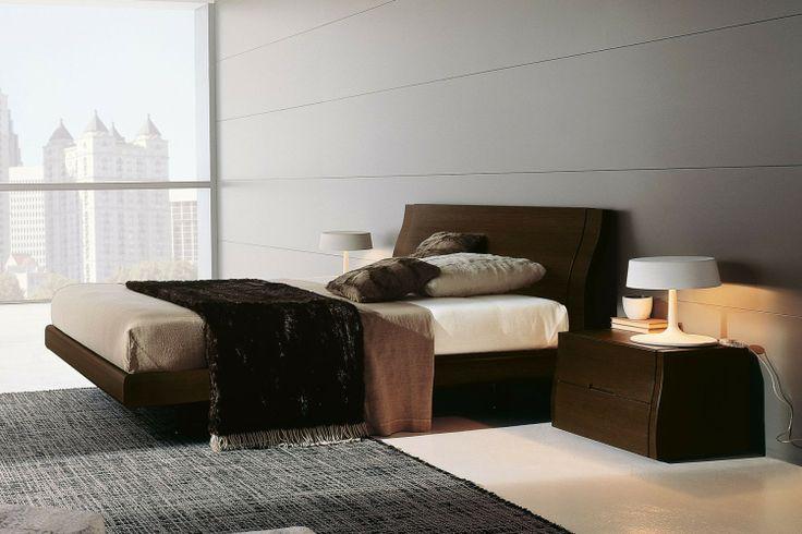 Camera da letto moderna in legno 81 - letto Clio e comodino Musa in rovere moro | Napol.it