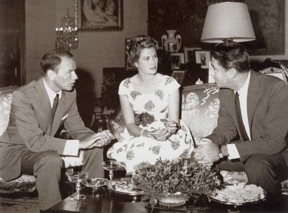 Monaco - June 14, 1958 - Princess Grace with Frank Sinatra and Peter Lawford prior to a charity gala to benefit the U.N. Fund for Refugees. © Archives of the Princely Palace of Monaco.
