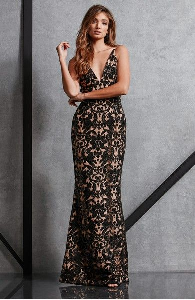 Black Lace Formal Gown Dress The Population Karen Mermaid Gown