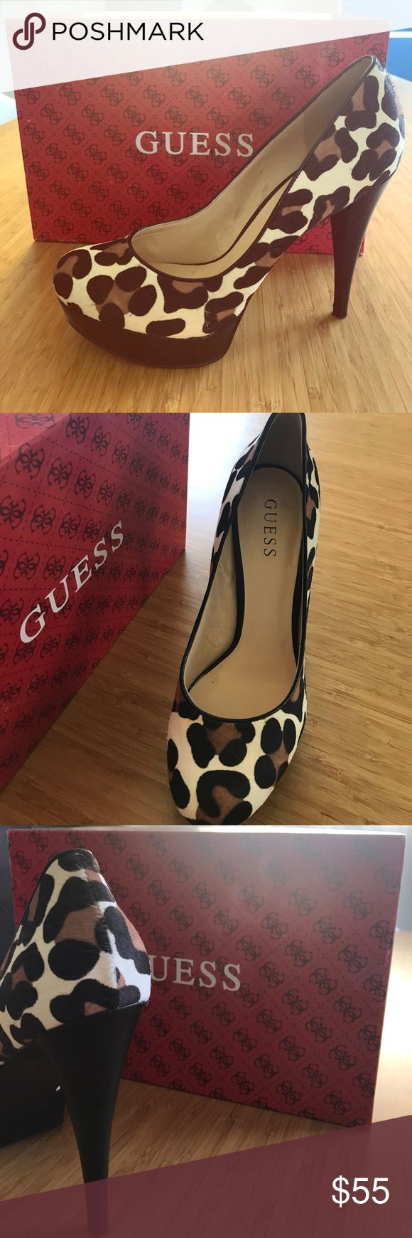 Animal print high heels Brand new Guess heels, never worn! Sleek and classy design, perfect for any occasion and guaranteed to turn heads. Guess Shoes Heels