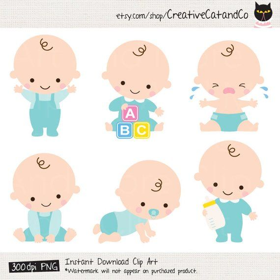 Set Of 6 Cute Baby Boy In Various Poses This Is Instant Digital Download Product You Will Receive 6 Png Baby Illustration Baby Cartoon Baby Shower Clipart