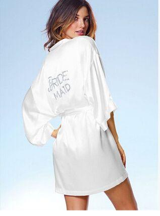 "6 Colors Silk Robe Short Satin Silk Wedding Bride Bridesmaid Robes White Bridal Dressing Gown ""BRIDE"" Or DIY Graphic on Back"