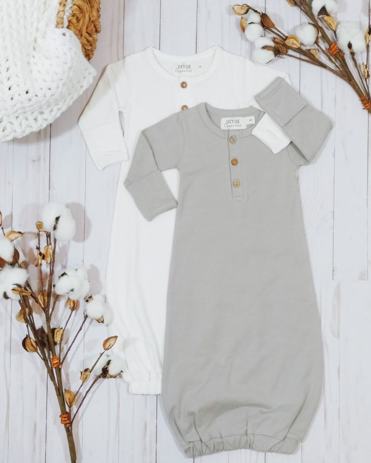 The softest most snuggly newborn gown to dress your babe in from the first day. Made in organic cotton. Shop Lucy Lue Organics today! Modern organic baby clothes in gender neutral styles and colors. #shopthelook #myshoplook