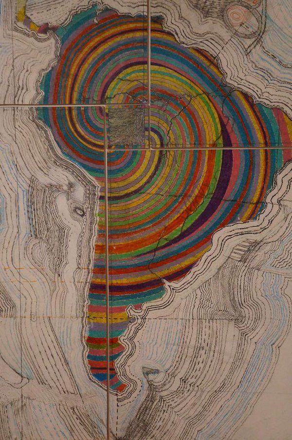 Map of Latin America - Juan Downey Latin America Map, South America, Arte Latina, Map Globe, Plans, Wallpaper, Art Photography, Illustration, Painting
