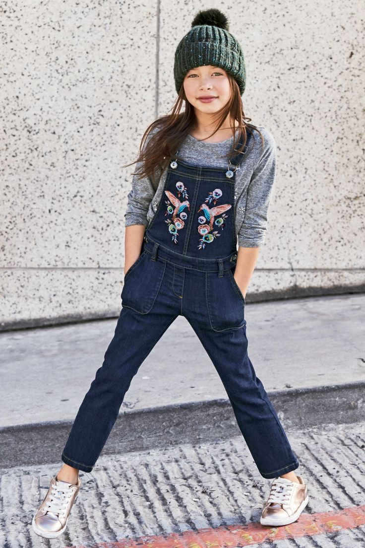 Buy Inky Blue Denim Embroidered Bird Dungarees (3-16yrs) from the Next UK online shop