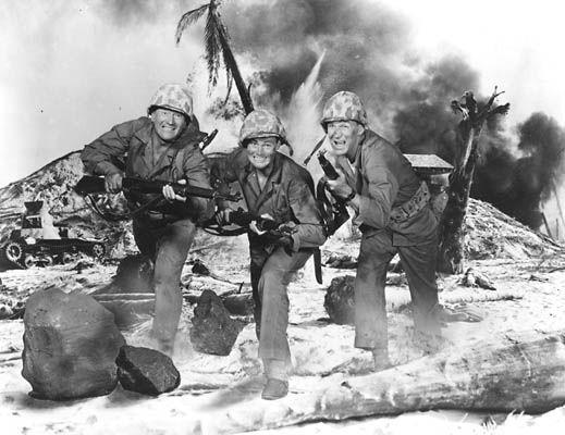 SANDS OF IWO JIMA (1949) - John Wayne - John Agar - Forrest Tucker - Directed by Allan Dwan - Republic Pictures - Publicity Still.