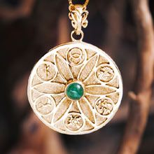 The Genesis Pendant The intention was to create the perfect & most powerful symbol for creativity. The stone that has been used for this model (though you can order it with your favourite stone- may cost extra) is a green or pink Tourmaline - the stone of love and protection since many cultures use the symbol of the Seed of Life as a talisman for that purpose. Size: 3.0cm/3.0cm -  1.2Inch/1.2Inch Metal: Solid Gold 14k Yellow. Please click on the image to order. Price: $1,483