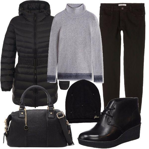 Piumino nero con cappuccio e cerniera, pullover con collo alto, pantaloni lunghi neri, stringate con zeppa, borsa nera a spalla e con tracolla e cappello nero.