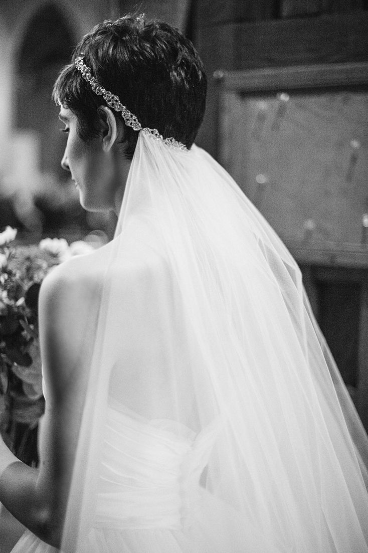 Pixie cut with rhinestone headband and veil | Black Tie Bride
