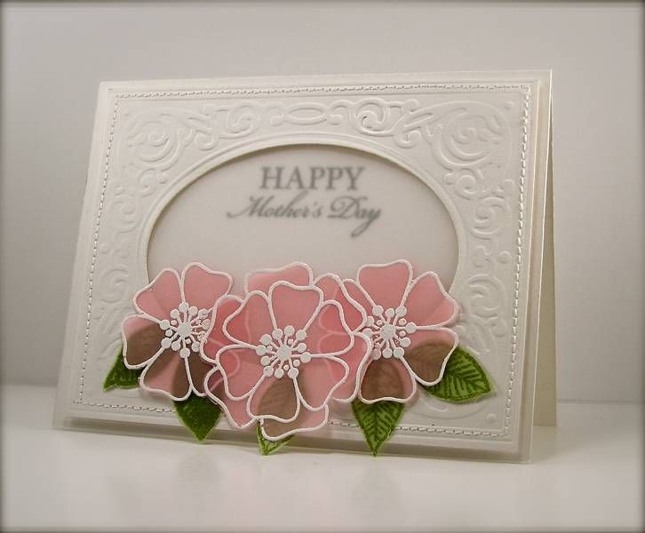 131 best cards acetateparchmentvellum images on pinterest card flower flowers vellum mothers day card embossing and die cut oval window to inside sentiment vellum window vellum flowers pink with white mightylinksfo
