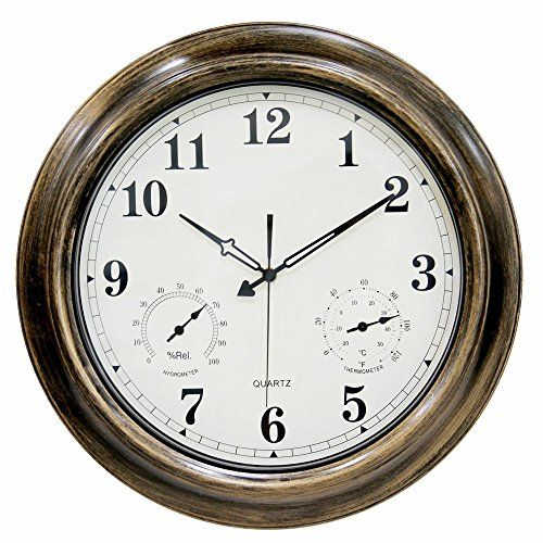 Waterproof 18 inch Wall Clock,Ing-Never Stop Indoor/Outdoor clock with Temperature and Humidity - Silent Movement.