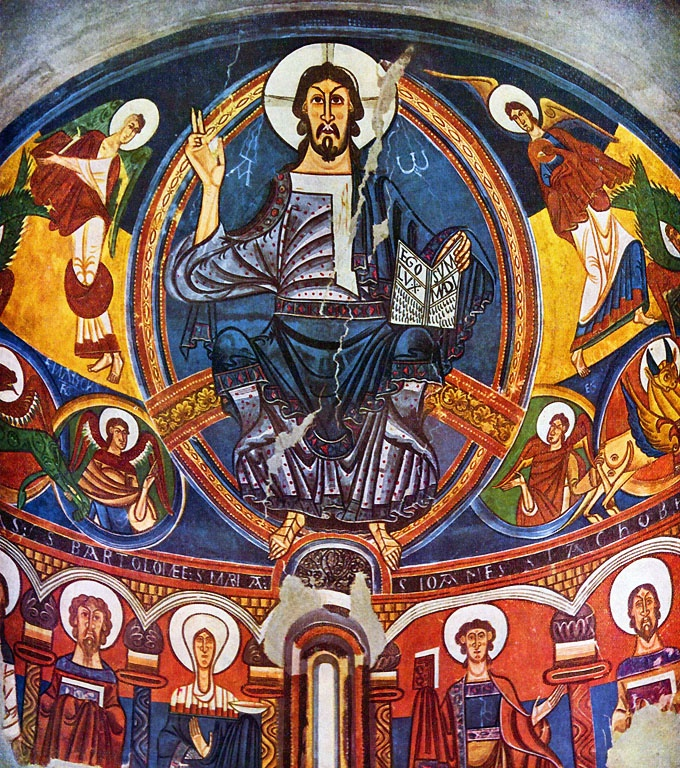 FRESCO: Christ in Majesty, 12th century fresco (detail) , Museu d' Art de Catelonia, Spain.