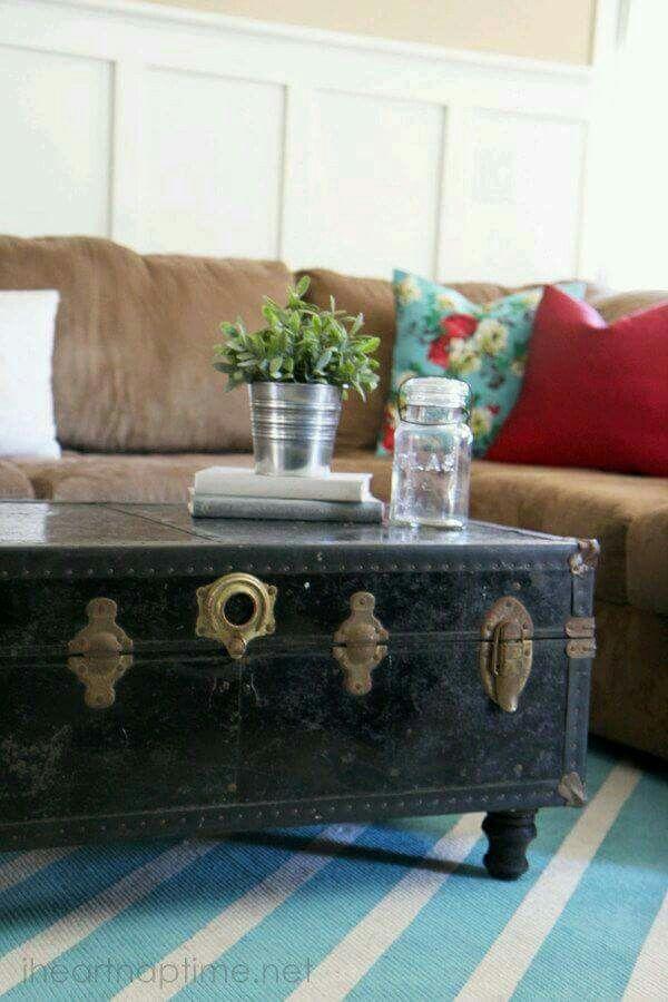 Prachtig...een oude koffer als salontafel