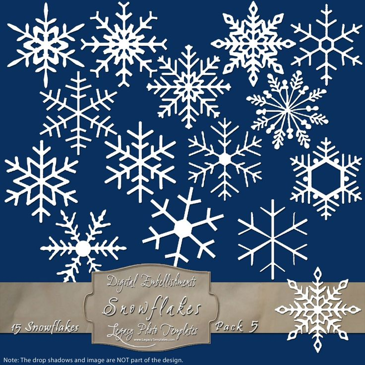 15 Frosty Snowflake Overlays - Pack 5 $4.75 #snowflakes, #white, #winter, #embellishment, #scrapbooking