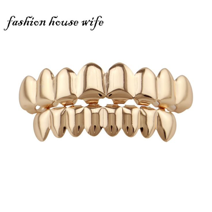 Fashion House Wife Rose Gold/Gun Black HIP HOP Teeth Grillz 8 Top & Bottom Teeth Sets Vampire Teeth Caps Jewelry Gift NL0016
