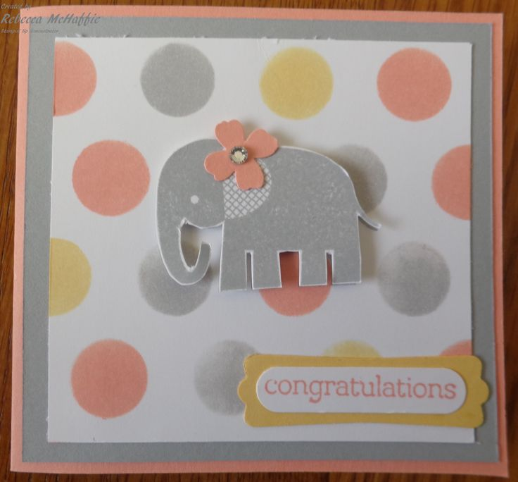 Used Stampin' Up decorative masks, Zoo Babies stamp set to make cute girl baby card