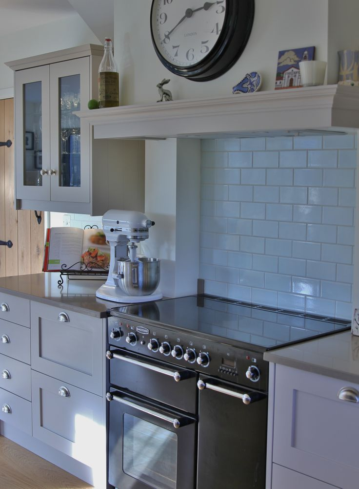Shaker Kitchen With Glazed Wall Units Faux Canopy Above