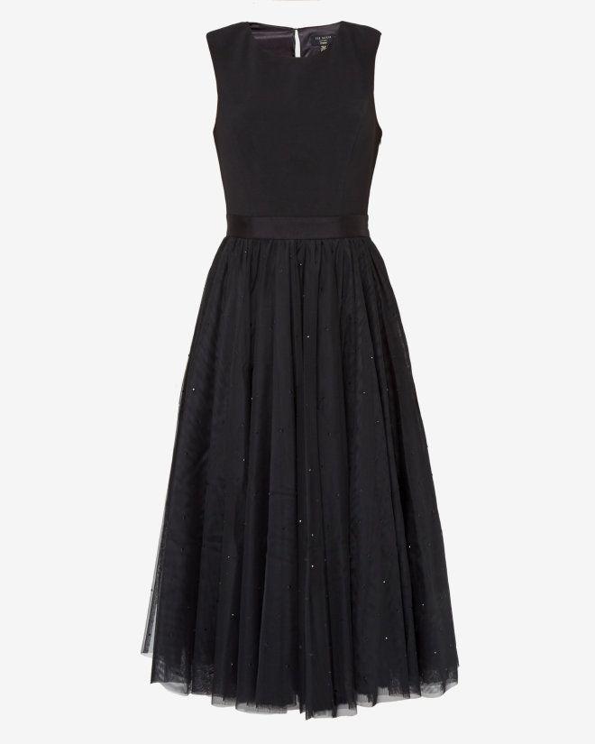 Embellished full skirt tulle dress - Black | Dresses | Ted Baker