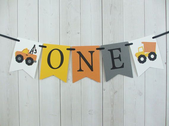 Construction Trucks ONE Age High Chair Birthday Party Baby Shower Flag Pennant Banner Sign Yellow Orange Grey Vehicle Tow Dump Truck Party Decor Decorations