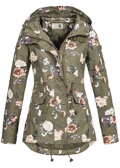 Aiki Damen Übergangs Jacke Kapuze 3 Taschen Tunnelzug Blumen Muster olive grün Aiki Jacken | 77onlineshop im Online Shop preiswert kaufen