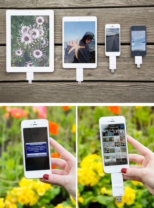iFlash Drive is a thumb drive that plugs both into USB drives and iPhones, iPads and iPods!