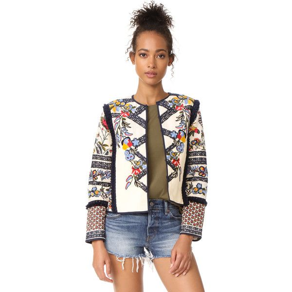 Tory Burch Amber Jacket ($565) ❤ liked on Polyvore featuring outerwear, jackets, floral embroidered jacket, fringe jacket, multi coloured jacket, tory burch and colorful jackets