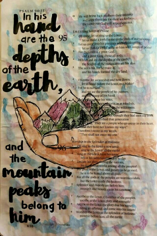 Psalm 95 Bible art journaling by @peggythibodeau www.peggyart.com