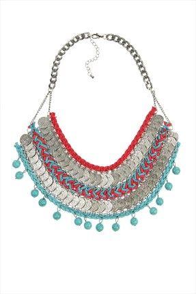 Pembe Mavi Süet İpler Gümüş Paralar Etnik Kolye CDX01N8310 Chiccy | Trendyol