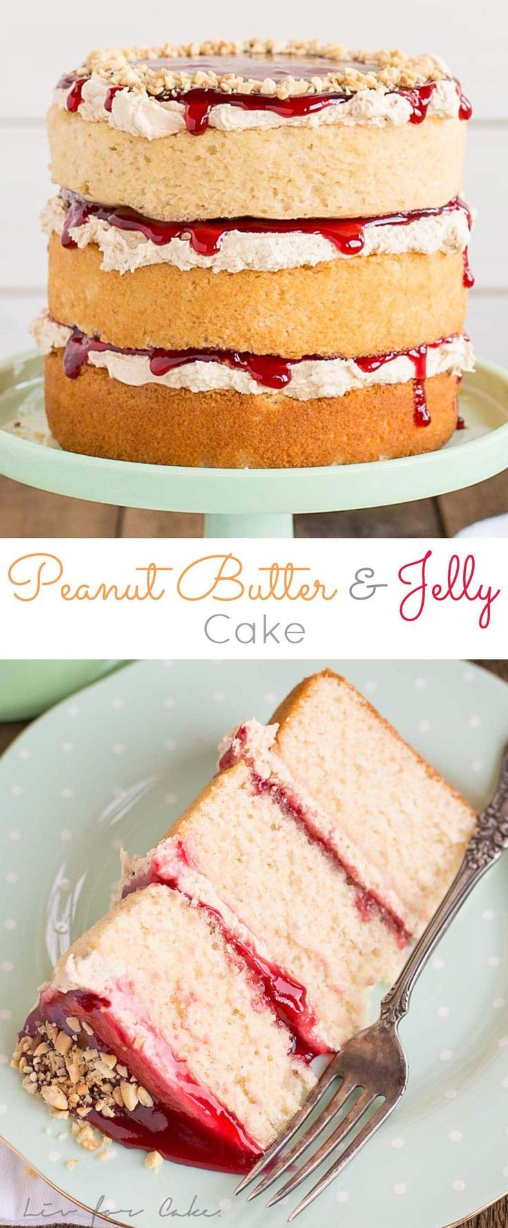 Peanut butter cake layers and frosting paired with your favourite jam. This Peanut Butter & Jelly Cake is a childhood flashback in the best way possible! | livforcake.com