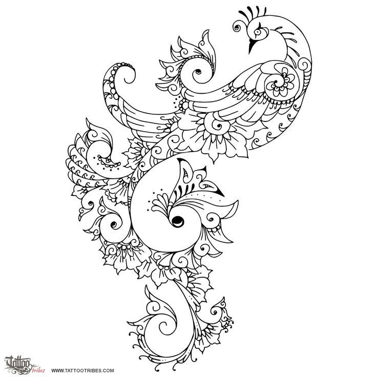 Tatuaggio di Pavone stile Mehndi, Amore, passione tattoo - custom tattoo designs on TattooTribes.com