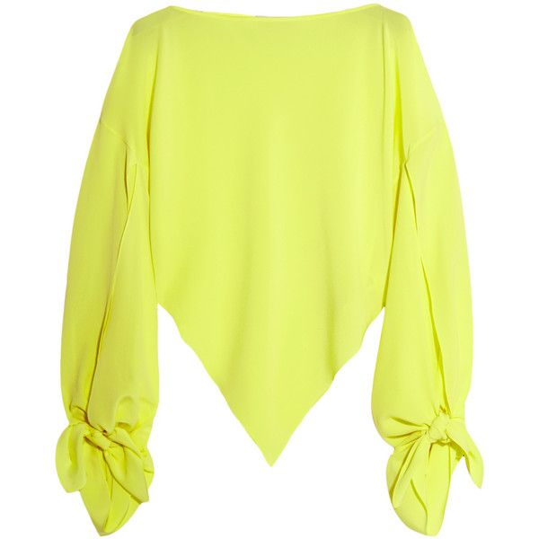 Balenciaga Neon asymmetric silk-georgette top (£1,125) ❤ liked on Polyvore featuring tops, bright yellow, balenciaga top, asymmetric top, neon yellow top, knot top and balenciaga