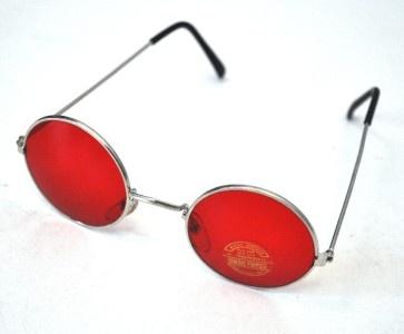 VINTAGE Round Red Lens 1990's Glasses/Sunglasses NEW Hippy/Lennon/Ozzy Osbourne
