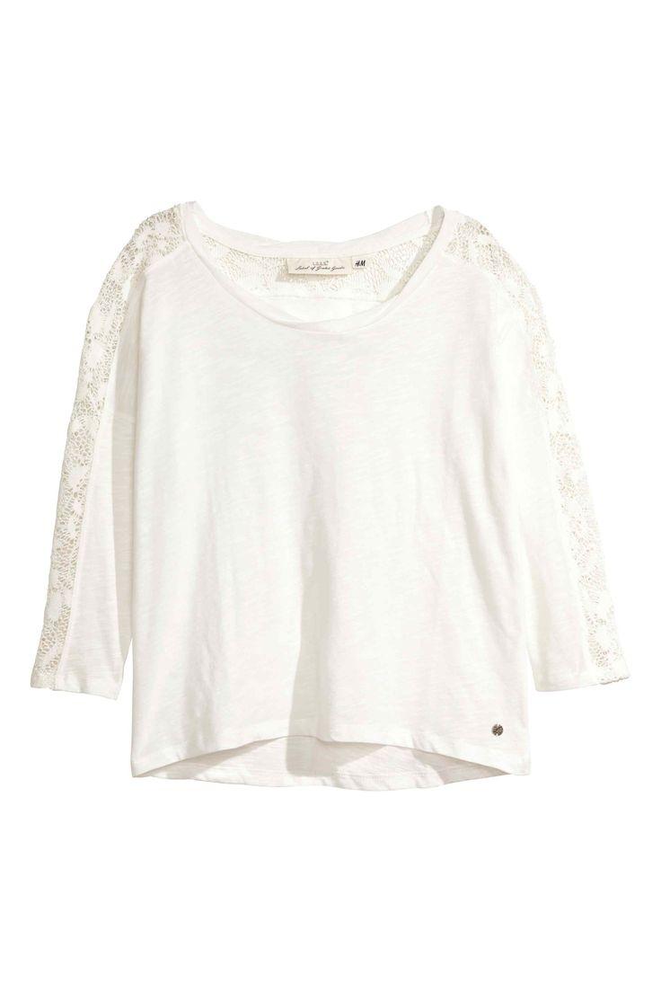 Bluză din jerseu cu dantelă | H&M