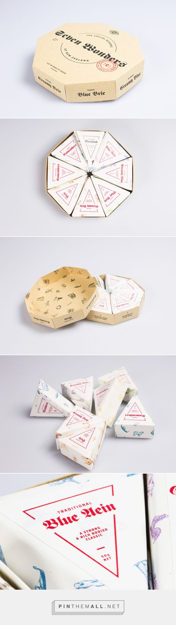 The Design Blog packaging design by Roydon Misseldine Wellington, New Zealand curated by Packaging Diva PD. Mainland Cheese Seven Wonders of New Zealand, taking you from the 'The Creamy Fox Blue glaciers' all the way to 'The Double Cream Brie–City Tower.