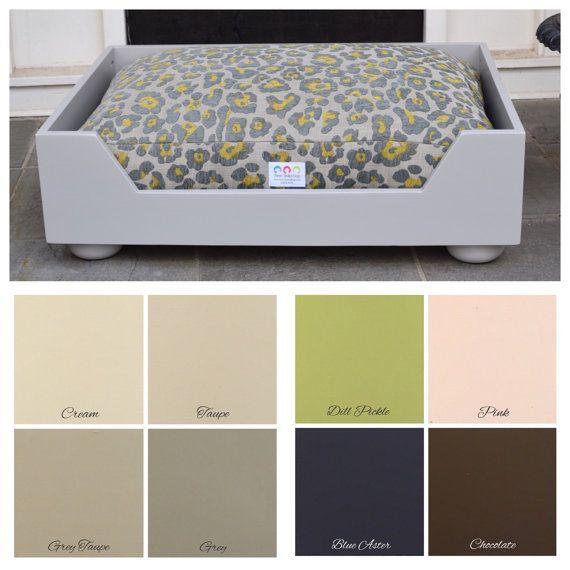 Wood Dog Bed Medium Large Grey Cozy Dog Bed by ThreeSpoiledDogs