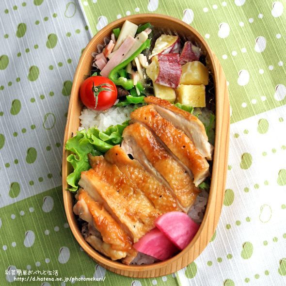 鶏の照り焼き丼 サツマイモのマヨネーズサラダ ピーマン・エリンギ・ハムの塩コショーソテー プチトマト 赤カブの甘酢漬け ご飯