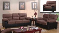 3PC Brown Velvet Microfiber Sofa Set  | Morning Furniture Mississauga, Ontario, Canada