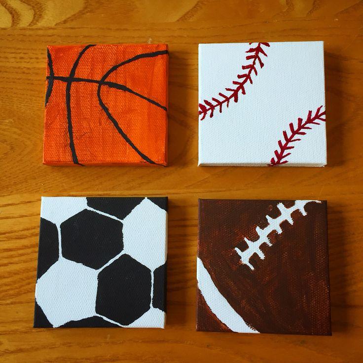 Mini Set Of Sports Canvas Paintings. Art Instagram Page: @myself_on_paper Nice Ideas
