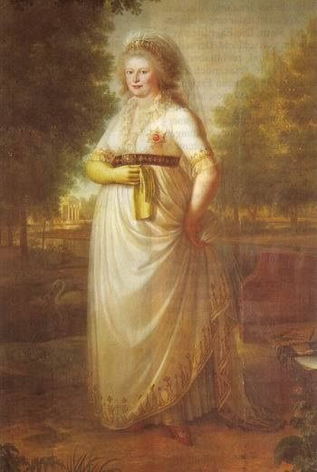 The Prince Regent's sister, who became Queen of Wertemburg. Married in 1797. This was painted after that by an unknown artist and the image is apparently in private hands. Not much known about this image sadly. Doesn't she look like her brother George!