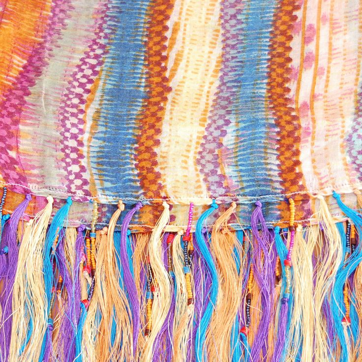 AMY pastel, silk and cashmere blend with beaded fringes - amet & ladoue SS14 #ametandladoue #stole