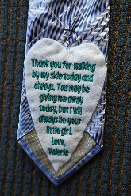 ordered from etsy, sewn on back of dad's tie. Brought a tear